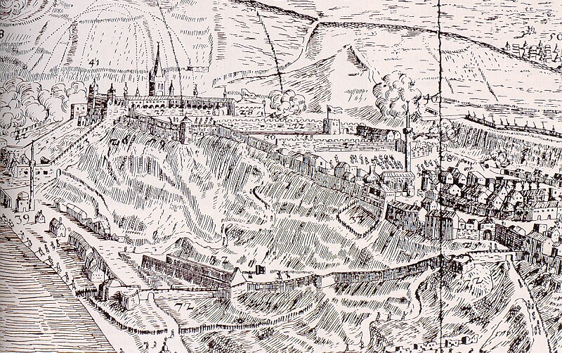 After Giovanni Domenico Fontana, Elias Nessenthaler: The siege of Buda from the north, 1686 (detail)