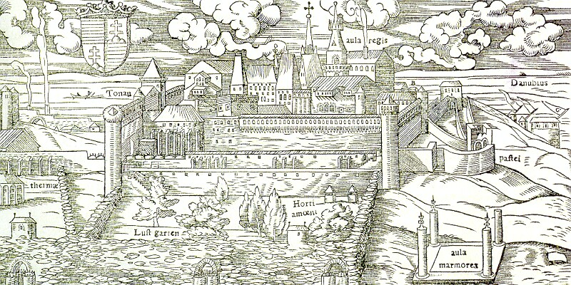 The view of the Buda Castle from Sebastian Münster Cosmographia, 1550 - wood engraving