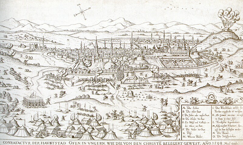 Hans Sibmacher: The Siege of Buda from the west, 1598 - etching